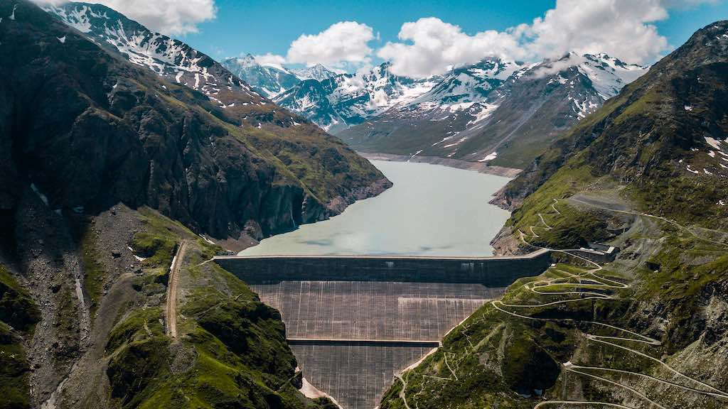 Aerial view of the Grande Dixence Dam in Switzerland