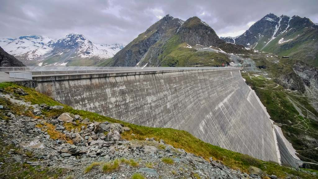 Large amounts of concrete of the Grande Dixence Dam in the canton of Valais, Switzerland