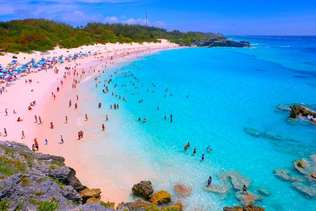 A scenic view of Horseshoe Bay Beach in Bermuda