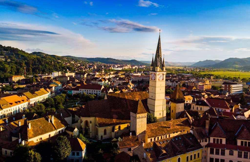 Aerial view of Medias citadel, Romania