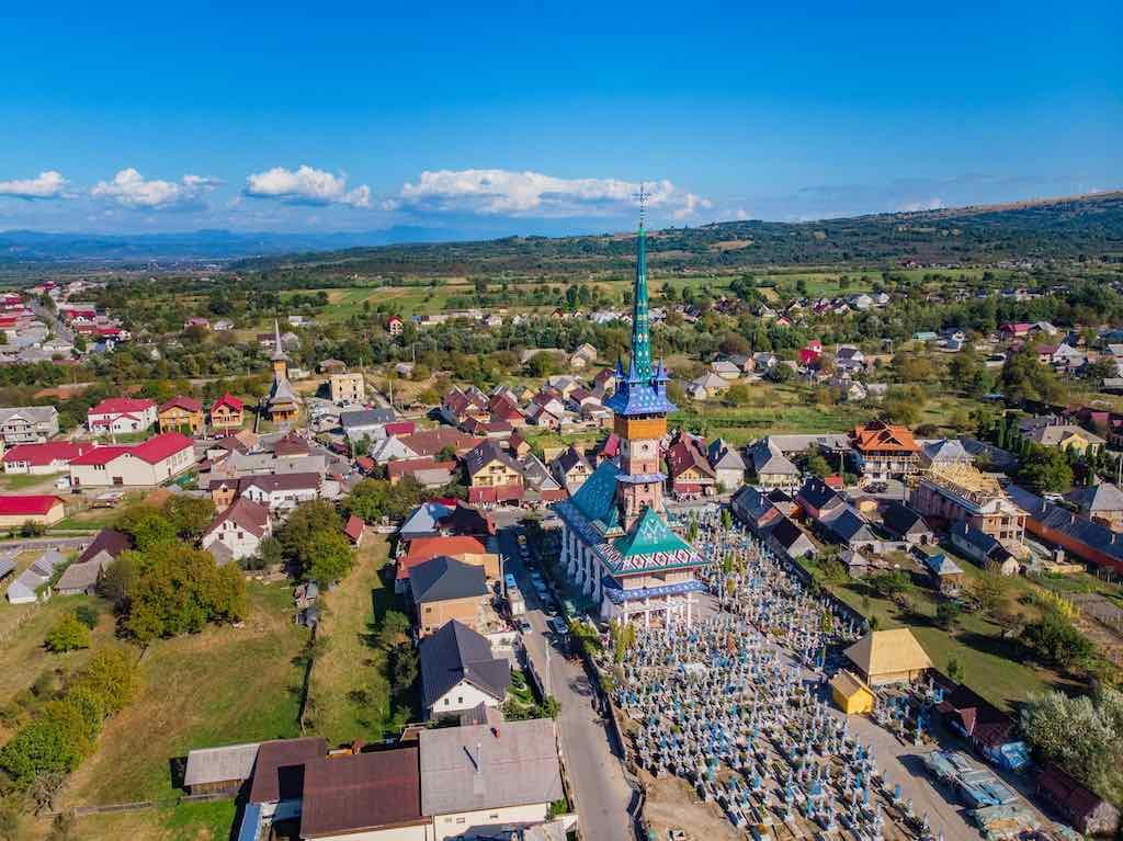 Aerial view of a neo-gothic church Sapanta , Sapanta, Romania