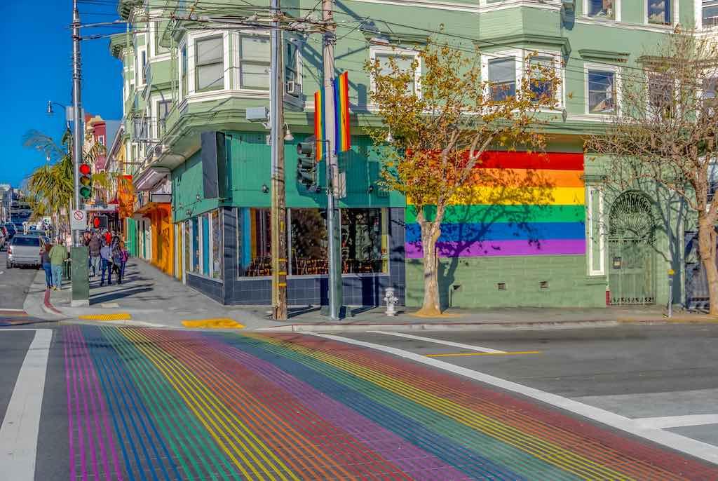 Castro District Rainbow Crosswalk Intersection - San Francisco, California, USA