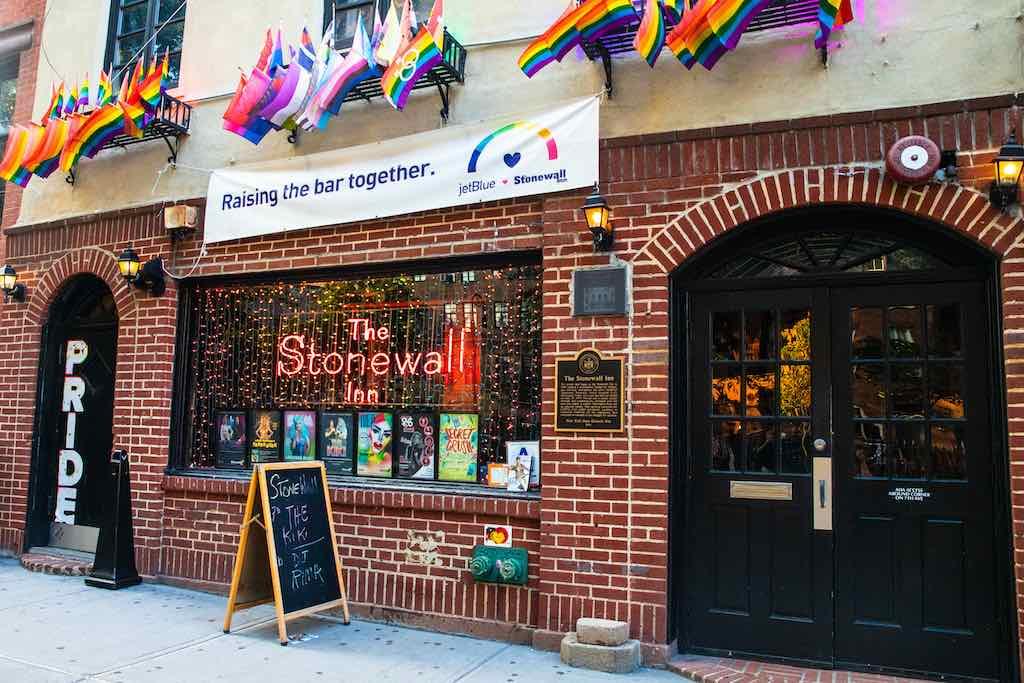 Historic Stonewall Inn gay bar in Greenwich Village Lower Manhattan - by littlenySTOCK : Shutterstock.com