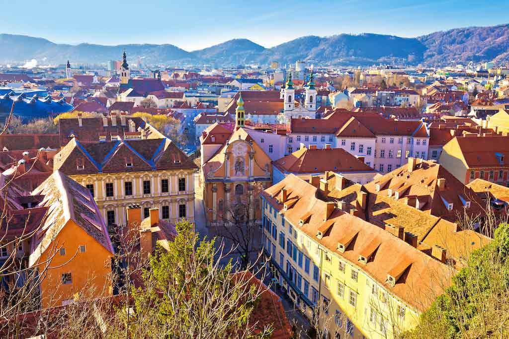 Graz Historic City Center Rooftops View - by xbrchx / Shutterstock.com