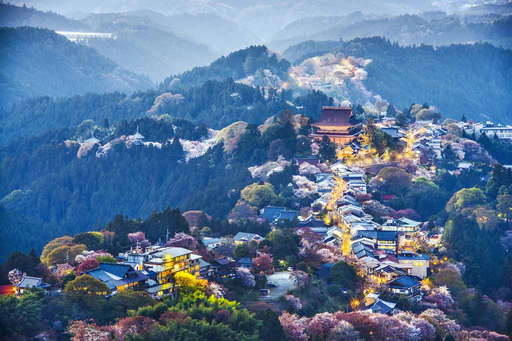 Yoshinoyama, Nara, Japan at twilight during the spring - Shutterstock.com