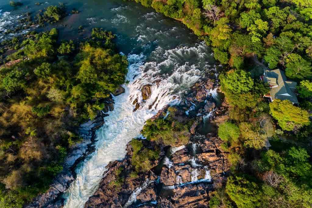 Aerial view of The Khone Falls and Pha Pheng Falls, Laos by Nguyen Quang Ngoc Tonkin/Shutterstock