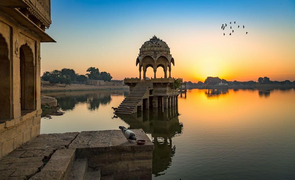 Ancient Architecture Ruins at Gadi Sagar (Gadisar), Lake Jaisalmer - By Roop_Dey/shutterstock.com