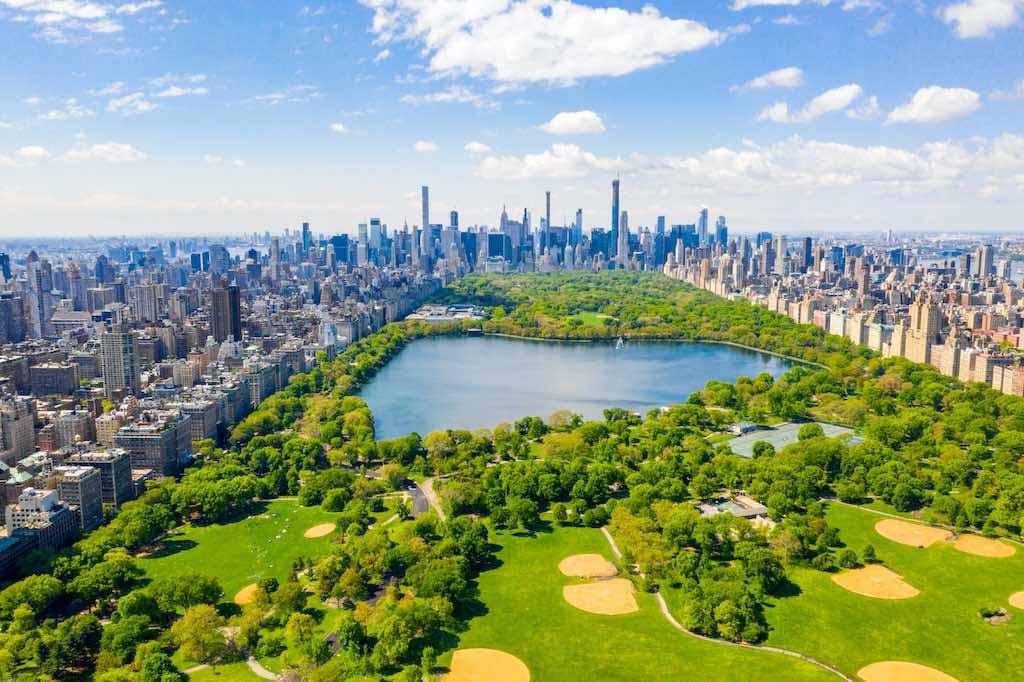 Central Park aerial view, Manhattan, New York