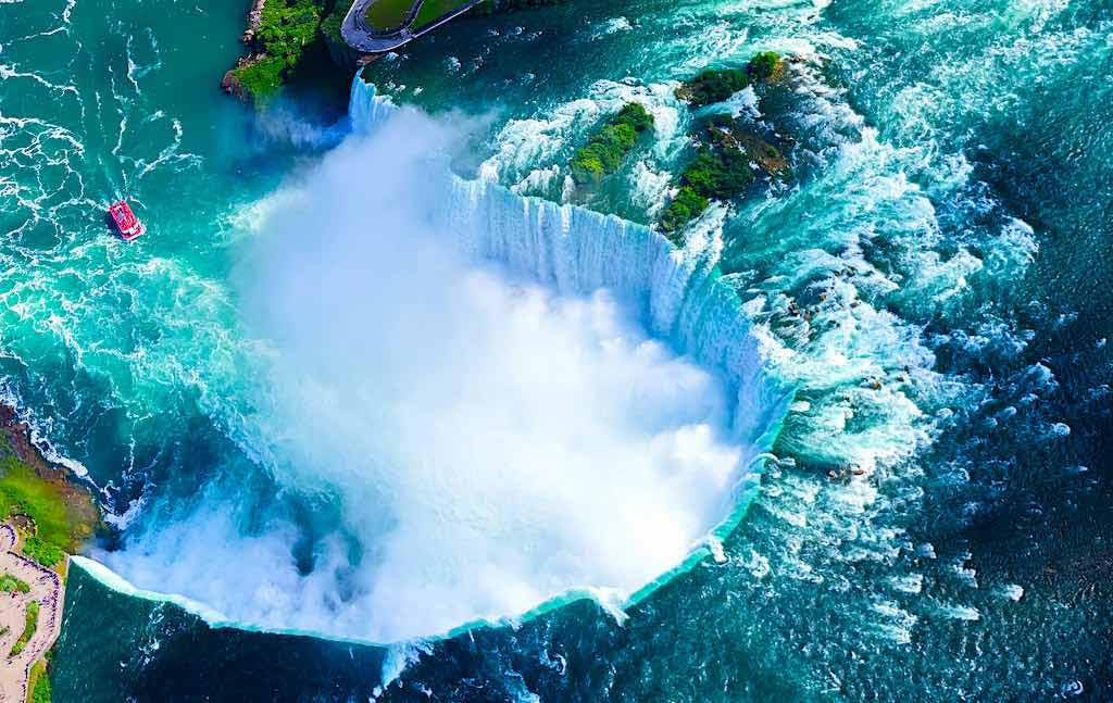 Niagara Falls - on the border between the US state of New York and the Canadian province of Ontario
