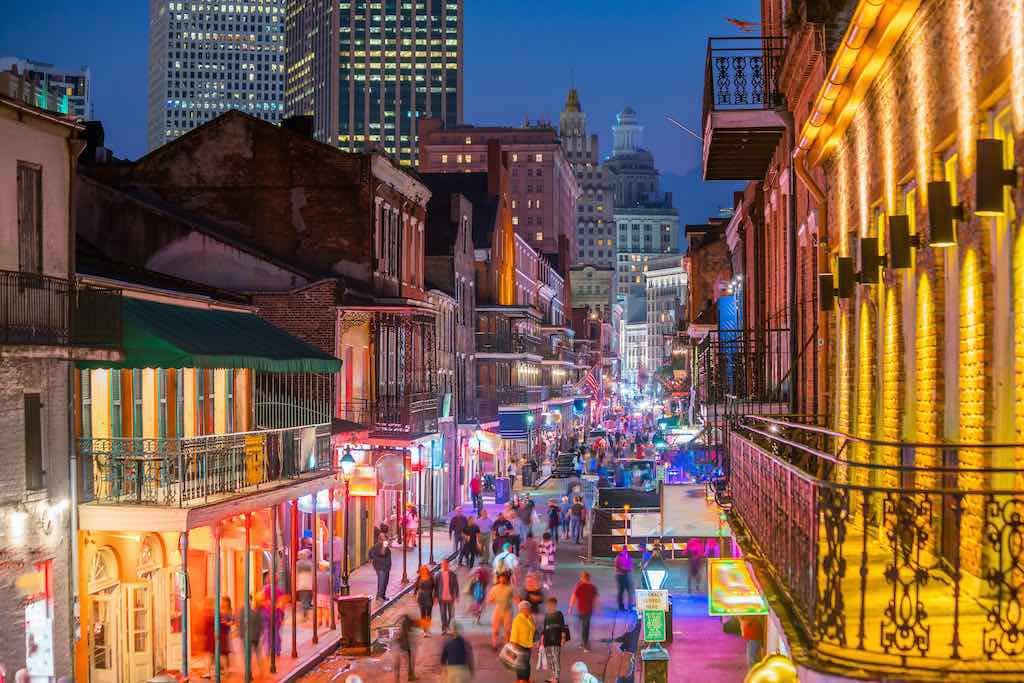 Pubs and bars with neon lights in the French Quarter of New Orleans