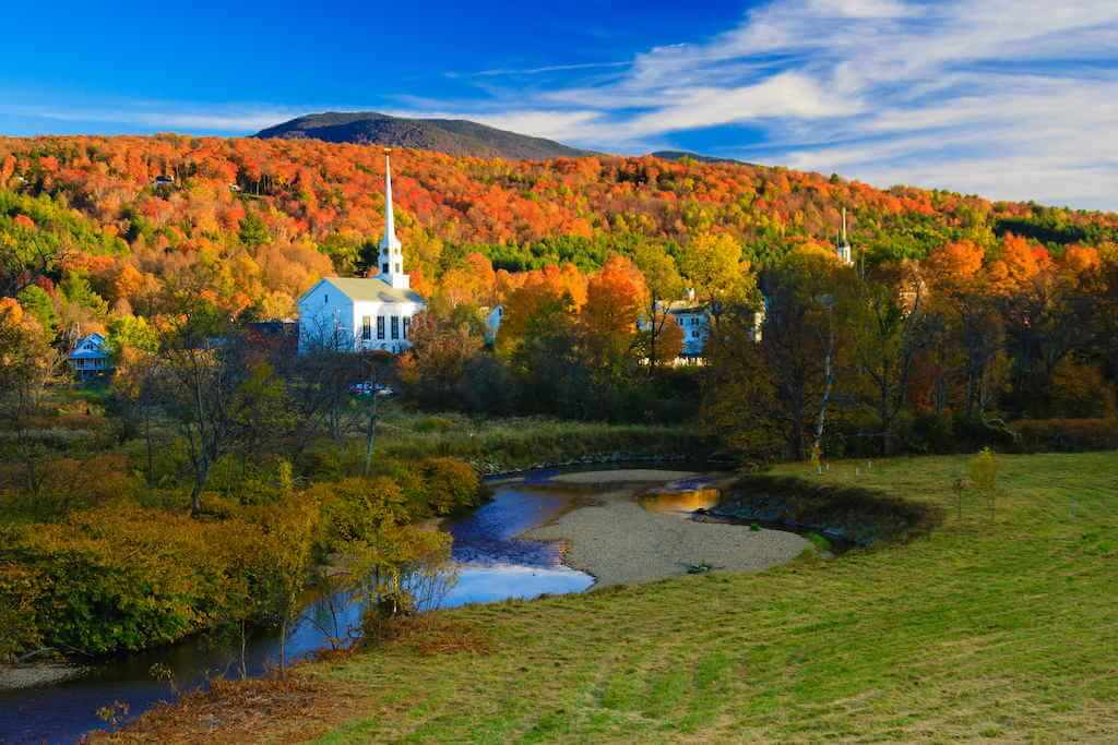 Stowe Community Church, Stowe, Vermont, -by Shutterstock.com