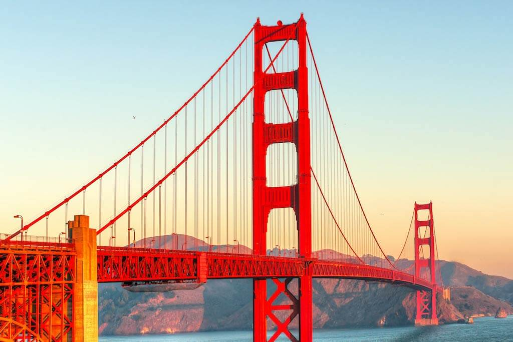 The Golden Gate Bridge in San Francisco is an attraction in the USA for tourists