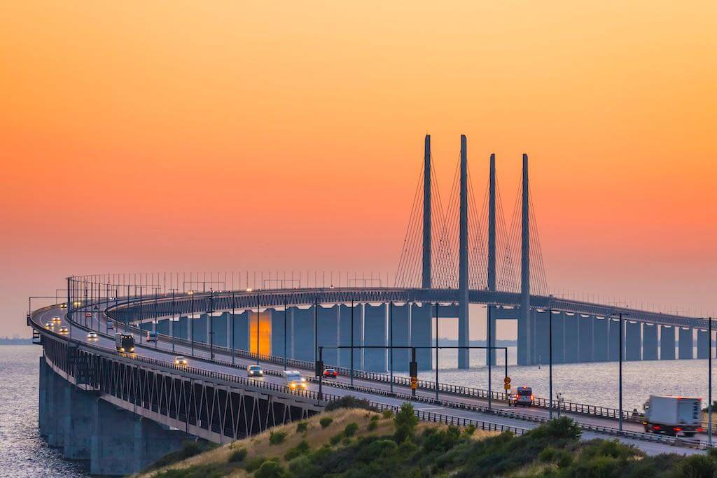 The Oresund bridge between Copenhagen Denmark and Malmo Sweden