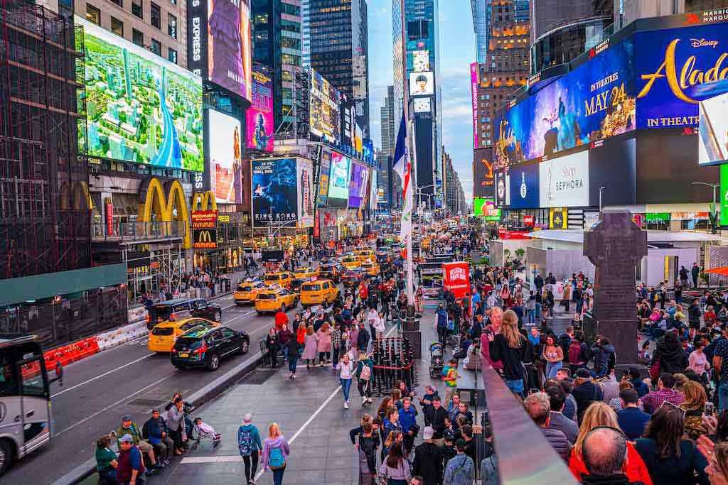 Times Square, NYC, is a great attraction in the USA for touristserstock.com