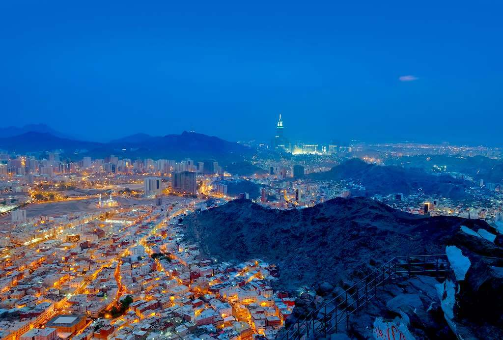"""A view of Mecca City,Masjidlharam during the dawn fajr from the Mount of light """"Jabal An-Nour"""""""