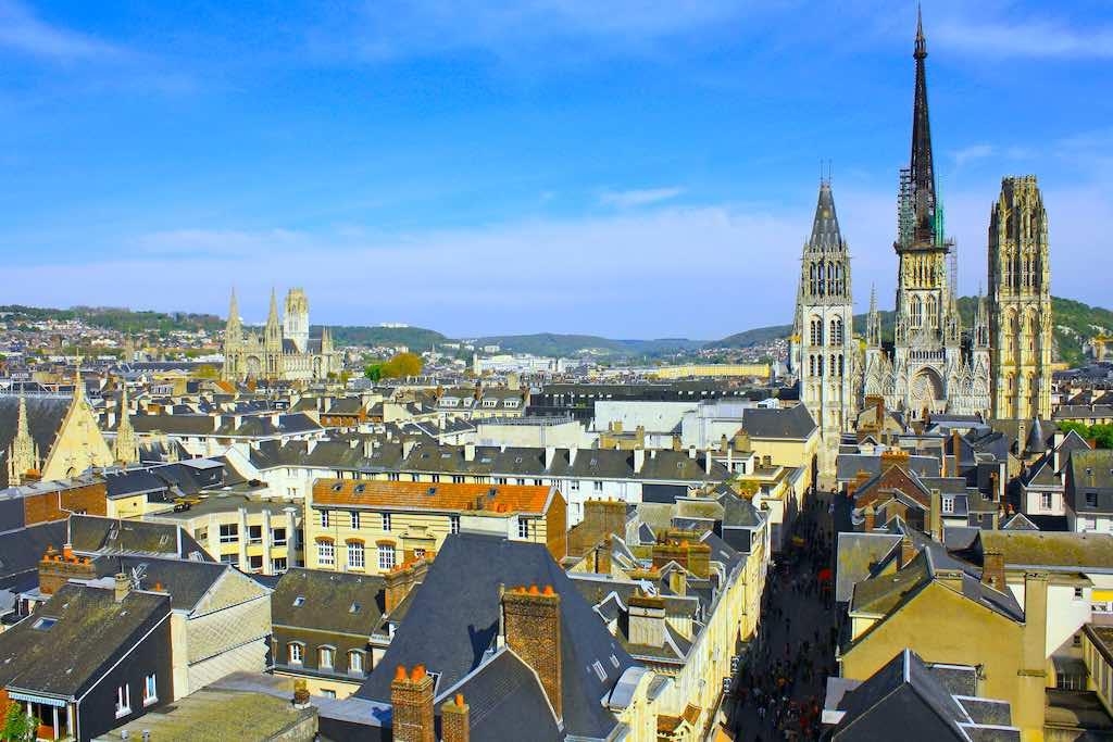 Aerial View of Notre-Dame de Rouen Cathedral, Rouen, France