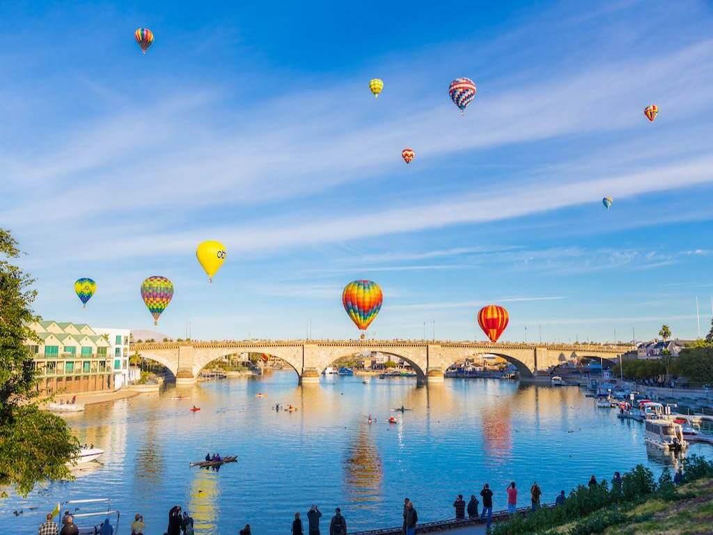 Hot Air Balloons over the London Bridge, Lake Havasu City