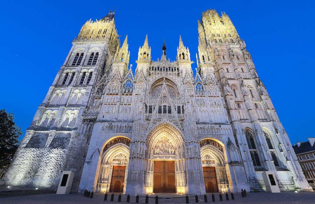 Notre-Dame de Rouen Cathedral at twilight, Rouen, France