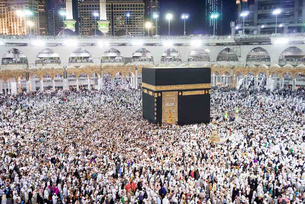 The Holy Kaaba is the center of Islam, Located in Masjid Al Haram in Mecca
