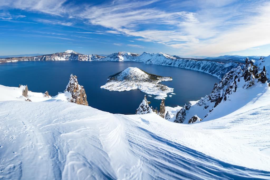 Winter time at Crater Lake National Park, Oregon